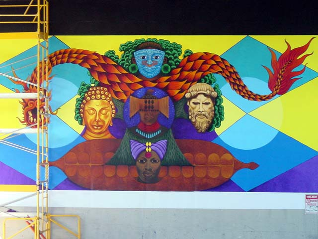 This beautiful mural is located on 40th St. in Oakland near Dr. Martin Luther King Way under the BART train and the expressway.