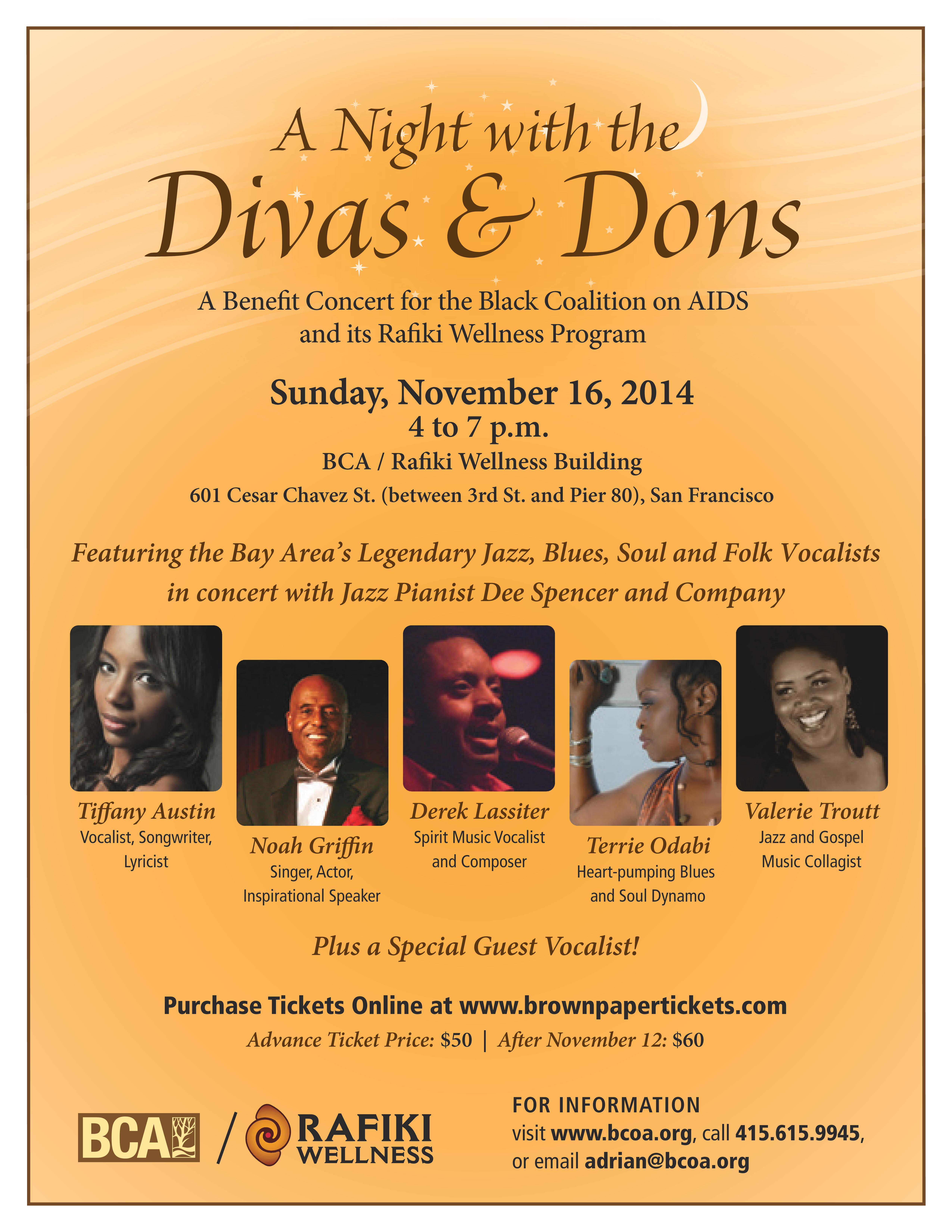 Night with the Divas & Dons - A Benefit for Black Coalition on AIDS and Rafiki Wellness Program - 11/16